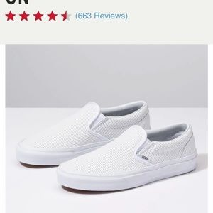 Women's White Leather Vans